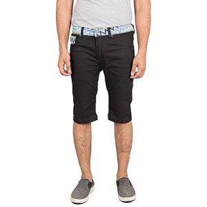 Asset Black Cotton Shorts with Silver Button and Zipzag Pattern on Waist M-EM2