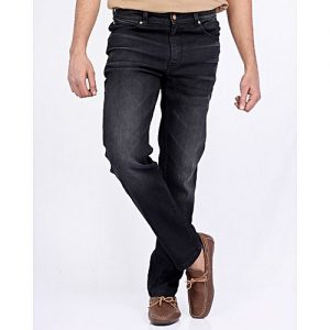 Asset Black Straight Leg Comfort Denim Jeans with Scraping for Men