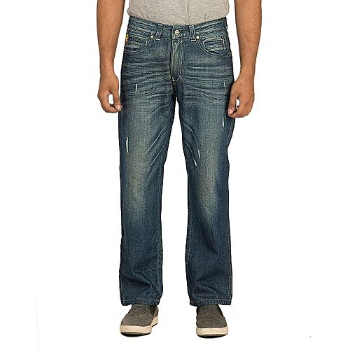 Asset Blue Denim Faded Jeans with Whiskers & Abrasion for Men - M-2141