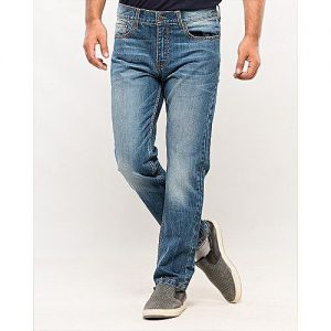 Asset Blue Denim Jeans with Beige Thread for Men
