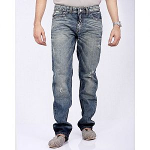 Asset Blue Denim Jeans with Sandy Finish & Whiskers and Distressing for Men