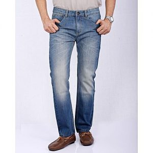 Asset Blue Faded Denim Jeans with Whiskers & Checkered Buttons for Men