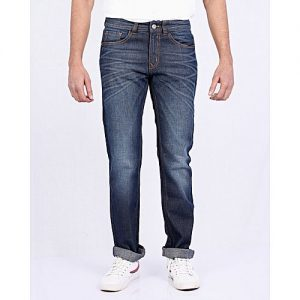 Asset Blue Jeans With Whiskers And Faded Knee