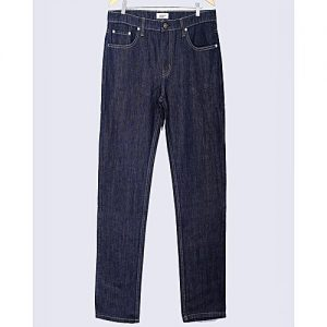 Asset Dark Blue Basic Denim Five Pocket Straight Leg Jeans for Men Relaxed Fit