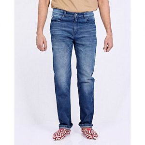Asset Dark Blue Basic Denim Jeans With Silver Buttons For Men - Straight-Leg