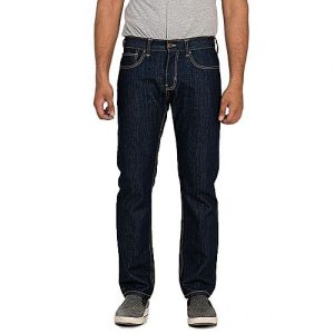 Asset Dark Blue Basic Denim Straight Leg Jeans with Beige Thread for Men Slim Fit