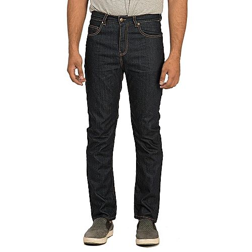 Asset Dark Blue Cotton Denim Straight-leg High-Waisted Jeans with Brass Buttons for Men Slim Fit