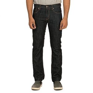 Asset Dark Blue Denim Basic Straight-leg Jeans with Golden Thread for Men Slim Fit
