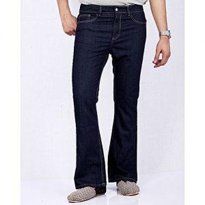 Asset Dark Blue Denim Bell Bottom Jeans for Men Flared Leg