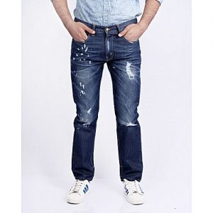 Asset Dark Blue Denim Jeans with Distressing Paint Splashes