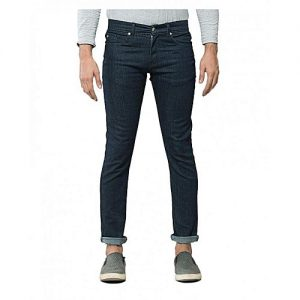 Asset Dark Blue Denim Rinse Wash Tapered Jeans for Men