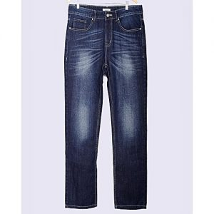 Asset Dark Blue Faded Denim Relaxed-Fit Jeans With Scraping For Men