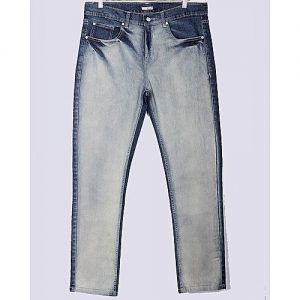 Asset Dark Blue Faded Stretch Tapered-Fit Jeans With White Front For Men Slim Fit