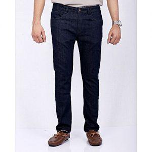 Asset Dark Blue Plain Denim Straight Cut Jeans with Brass Button for Men Slim Fit
