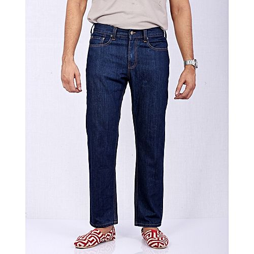 Asset Dark Blue Straight Leg Basic Denim Jeans with Beige Thread for Men -