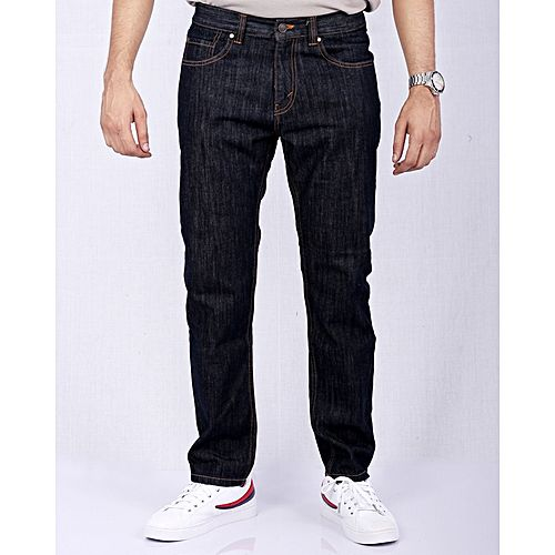 Asset Dark Blue Straight Leg Jeans with Golden Thread for Men
