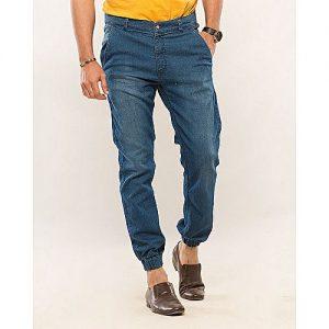 Asset Dark Blue Stretch Denim Jogg Pants with Elasticated Hems for Men