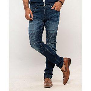 Asset Dark Blue Stretch Denim Slim-Fit Biker Jeans with Highlights for Men Skinny Fit