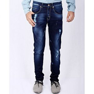 Asset Dark Blue Stretch Denim Slim-Fit Jeans with Splashes for Men Skinny Jeans