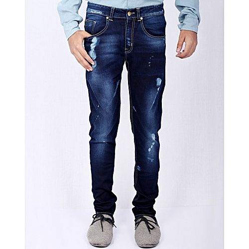 Asset Dark Blue Stretch Denim Slim-Fit Jeans with Splashes for Men Skinny  Jeans 8aa1725e1