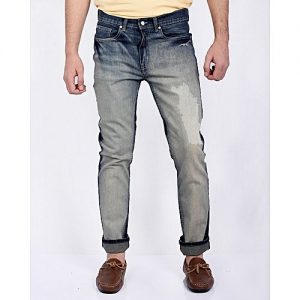 Asset Dark Blue Stretch Denim Tapered Fit Jeans for Men