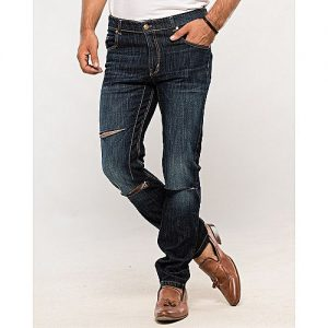 Asset Dark Blue Tapered-Fit Jeans with Cuts for Men Slim Fit