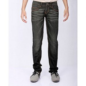Asset Dark Green Denim Slubby Slim-Fit Jeans With Sandblasting For Men - Skinny-Fit