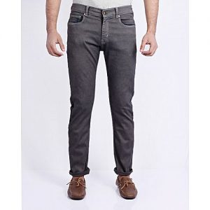 Asset Dark Grey Stretchable Jeans With Brass Buttons For Men