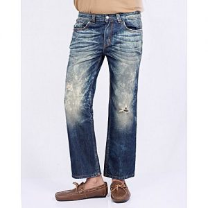 Asset Distressed Blue Faded Denim Jeans Whiskers On Both Side
