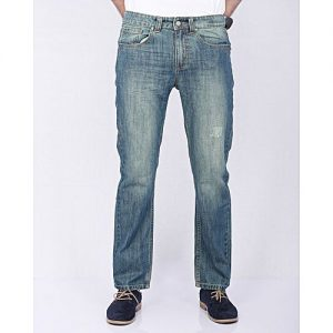 Asset Faded Blue Denim Jeans with Green Tinting & Abrasion for Men - Straight-leg
