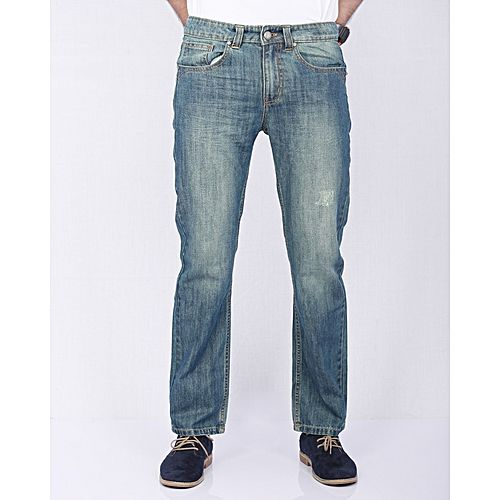 ebab63b1 Asset Faded Blue Denim Jeans with Green Tinting & Abrasion for Men -  Straight-leg
