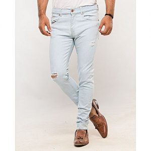 Asset Ice Blue Denim Slim Fit Jeans With Distressing For Men Skinny Fit