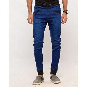 Asset Ink Blue Stretch Denim Skinny Jogg Pants For Men