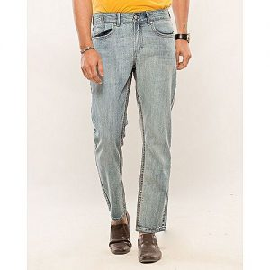 Asset Light Blue Cotton Denim Straight-leg Cropped Jeans with Coin Pocket on Fly for Men Slim Fit