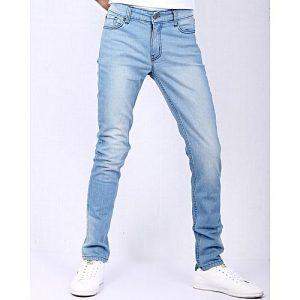 Asset Light Blue Stretch Denim Slim Fit Jeans with Highlighting for Men Skinny Fit