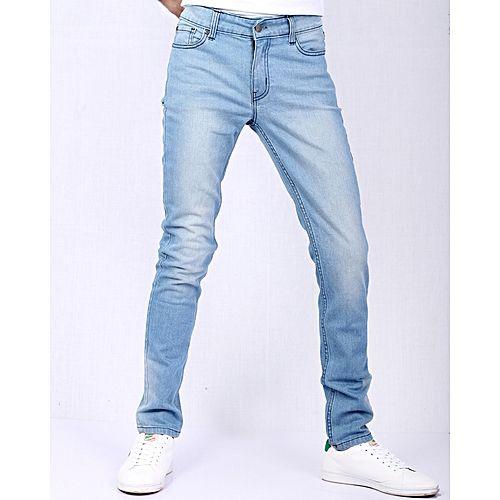 Unikalne Asset Light Blue Stretch Denim Slim Fit Jeans with Highlighting XG49