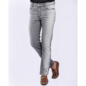 Asset Light Grey Super Stretch Denim Jeans with Fading for Men - Straight-leg