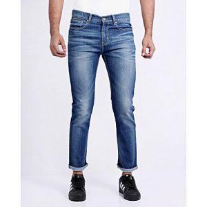 Asset Medium Blue Basic Stretch Jeans With High Waist For Men