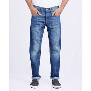 Asset Medium Blue Cotton Denim Relaxed-Fit Jeans With Abrasions