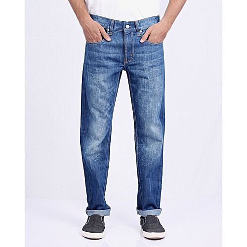 Asset Ink Blue Stretch Denim Skinny Jogg Pants For Men