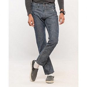 Asset Medium Blue Cotton Denim Straight leg Jeans with Distressing for Men Slim Fit