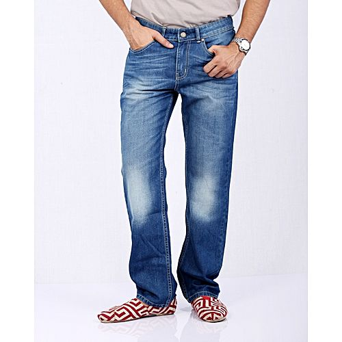 Asset Medium Blue Denim Jeans with Cream Thread and Whiskers for Men -