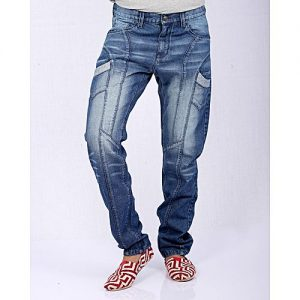 Asset Medium Blue Denim Panelled Jeans with Fading for Men - Relaxed-Fit