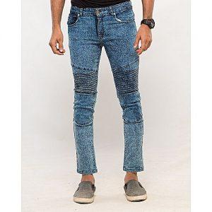 Asset Medium Blue Denim Skinny-Fit Biker Jeans Cropped with Random Wash for Men Super Slim Fit