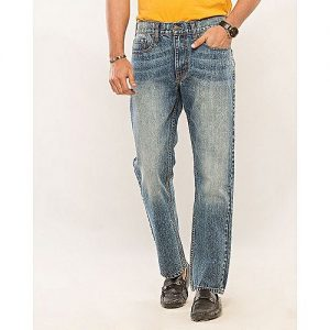 Asset Medium Blue Denim Straight-leg Cropped Jeans with Random Wash & Highlights for Men - Relaxed-Fit