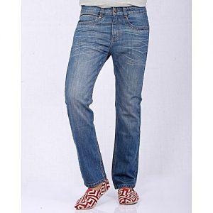 Asset Medium Blue Straight Leg Denim Jeans with Whiskers for Men