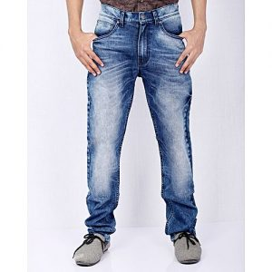 Asset Medium Blue Stretch Denim Relaxed Fit Jeans with Highlighting for Men Comfort Fit
