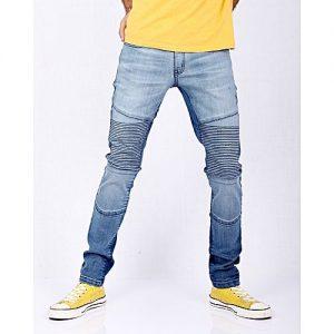 Asset Medium Blue Stretch Denim Skinny-Fit Biker Jeans with Two-tone Wash for Men Slim Fit