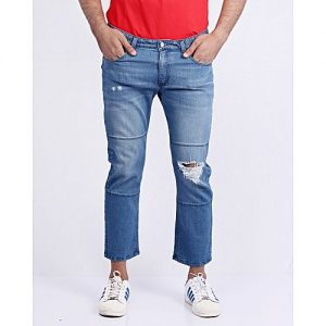 Asset Medium Blue Stretchable Relaxed Cut Cropped Jeans For Men