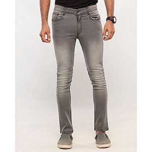 Asset Medium Grey Stretch Denim Cropped Slim Fit Jeans with Fading for Men Skinny Fit
